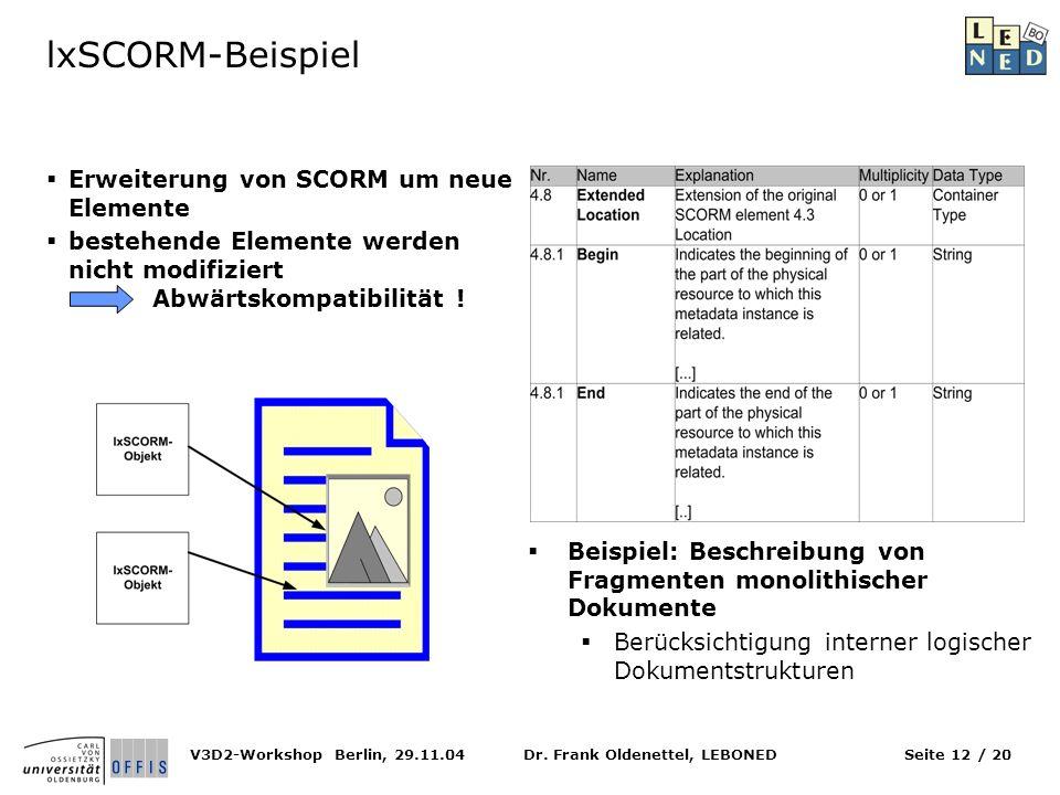 Dr. Frank Oldenettel, LEBONEDV3D2-Workshop Berlin, 29.11.04Seite 12 / 20 lxSCORM-Beispiel Erweiterung von SCORM um neue Elemente bestehende Elemente w
