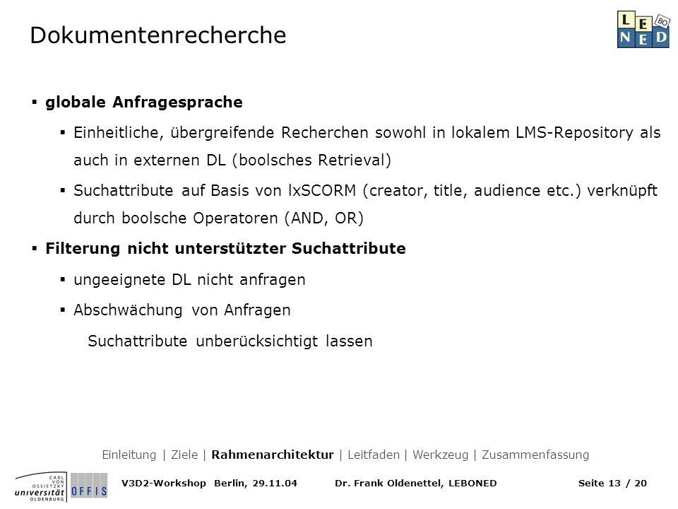 Dr. Frank Oldenettel, LEBONEDV3D2-Workshop Berlin, 29.11.04Seite 13 / 20 Dokumentenrecherche globale Anfragesprache Einheitliche, übergreifende Recher