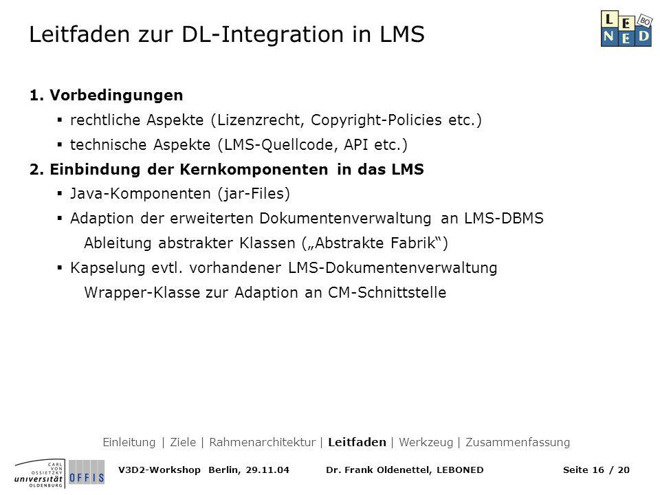 Dr. Frank Oldenettel, LEBONEDV3D2-Workshop Berlin, 29.11.04Seite 16 / 20 Leitfaden zur DL-Integration in LMS 1. Vorbedingungen rechtliche Aspekte (Liz