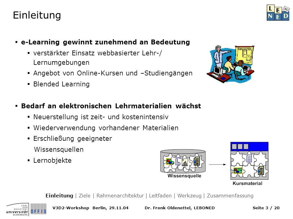 Dr. Frank Oldenettel, LEBONEDV3D2-Workshop Berlin, 29.11.04Seite 3 / 20 Einleitung e-Learning gewinnt zunehmend an Bedeutung verstärkter Einsatz webba