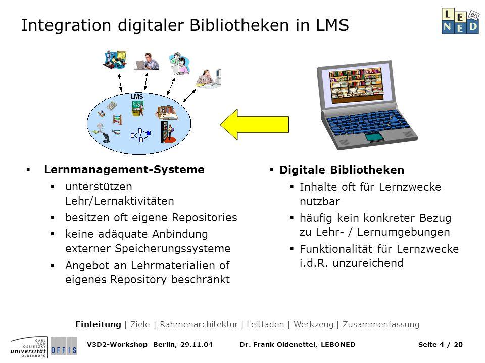 Dr. Frank Oldenettel, LEBONEDV3D2-Workshop Berlin, 29.11.04Seite 4 / 20 Integration digitaler Bibliotheken in LMS Digitale Bibliotheken Inhalte oft fü