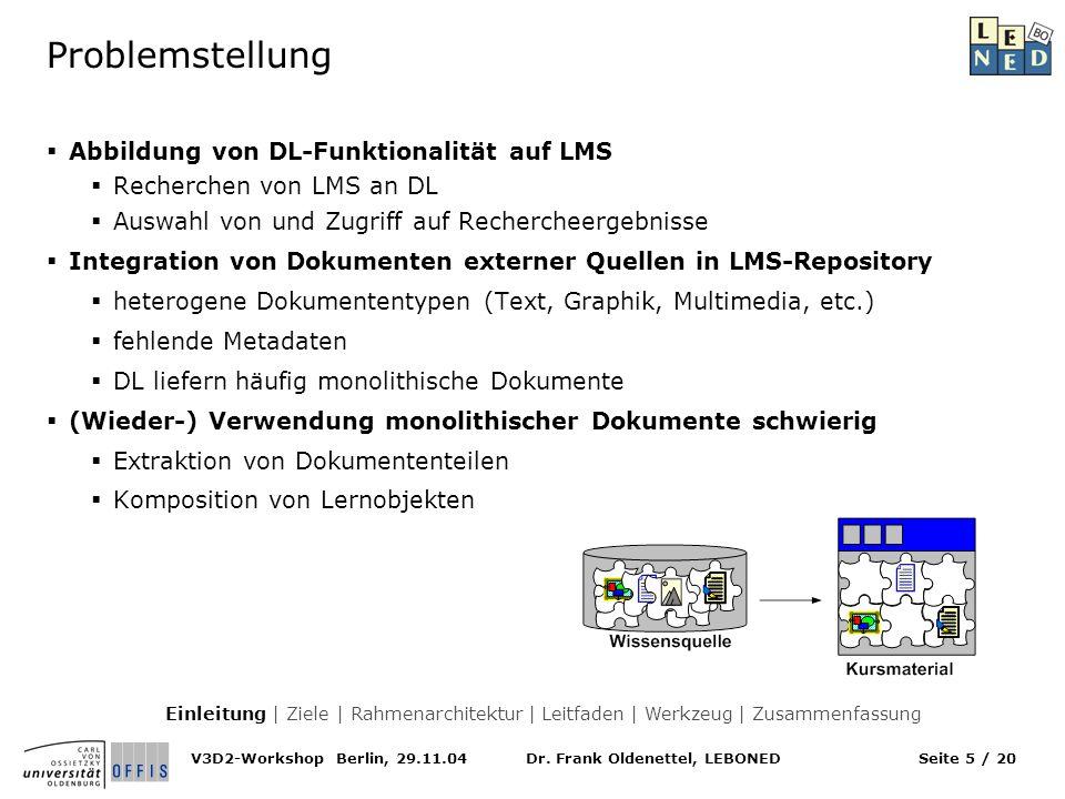 Dr. Frank Oldenettel, LEBONEDV3D2-Workshop Berlin, 29.11.04Seite 5 / 20 Problemstellung Abbildung von DL-Funktionalität auf LMS Recherchen von LMS an