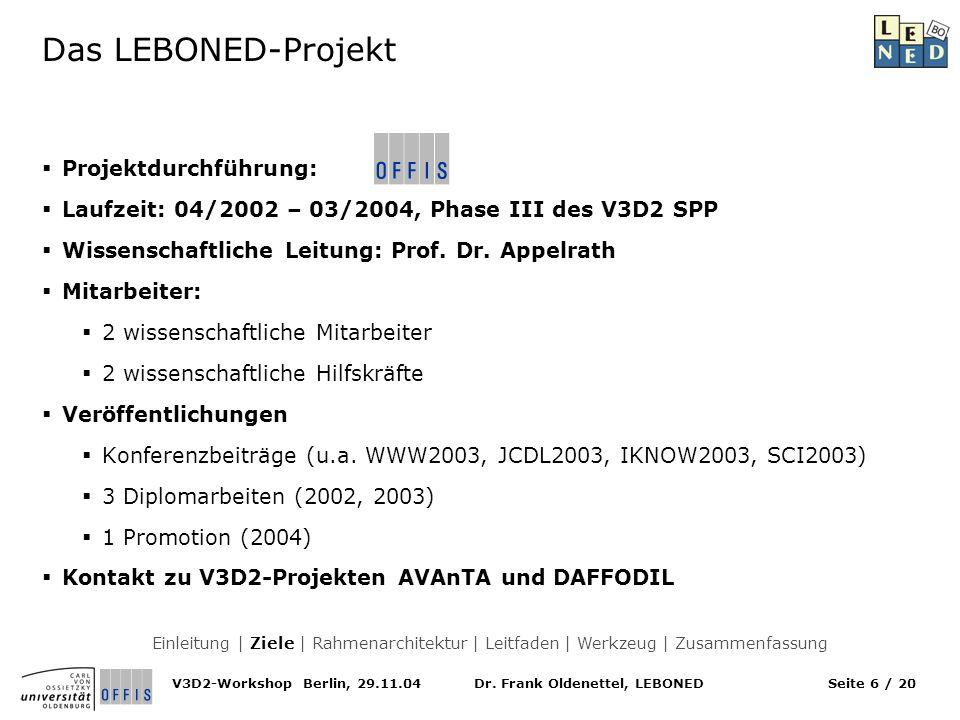 Dr. Frank Oldenettel, LEBONEDV3D2-Workshop Berlin, 29.11.04Seite 6 / 20 Das LEBONED-Projekt Projektdurchführung: Laufzeit: 04/2002 – 03/2004, Phase II