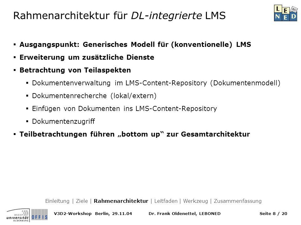 Dr. Frank Oldenettel, LEBONEDV3D2-Workshop Berlin, 29.11.04Seite 8 / 20 Ausgangspunkt: Generisches Modell für (konventionelle) LMS Erweiterung um zusä