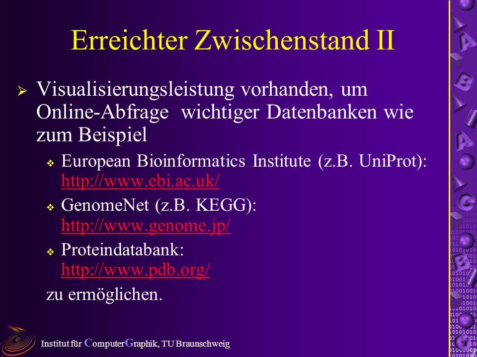 Institut für C omputer G raphik, TU Braunschweig Erreichter Zwischenstand II Visualisierungsleistung vorhanden, um Online-Abfrage wichtiger Datenbanken wie zum Beispiel European Bioinformatics Institute (z.B.