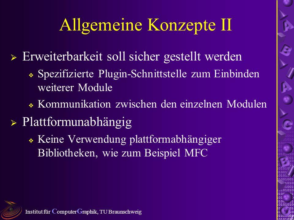 Institut für C omputer G raphik, TU Braunschweig Allgemeine Konzepte II Erweiterbarkeit soll sicher gestellt werden Spezifizierte Plugin-Schnittstelle zum Einbinden weiterer Module Kommunikation zwischen den einzelnen Modulen Plattformunabhängig Keine Verwendung plattformabhängiger Bibliotheken, wie zum Beispiel MFC