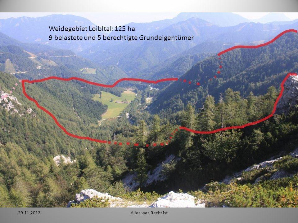 29.11.2012Alles was Recht ist Weidegebiet Loibltal: 125 ha 9 belastete und 5 berechtigte Grundeigentümer