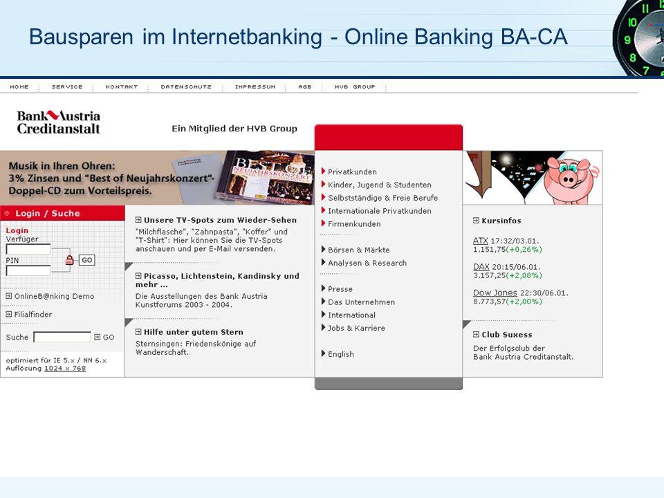 Bausparen im Internetbanking - Online Banking BA-CA