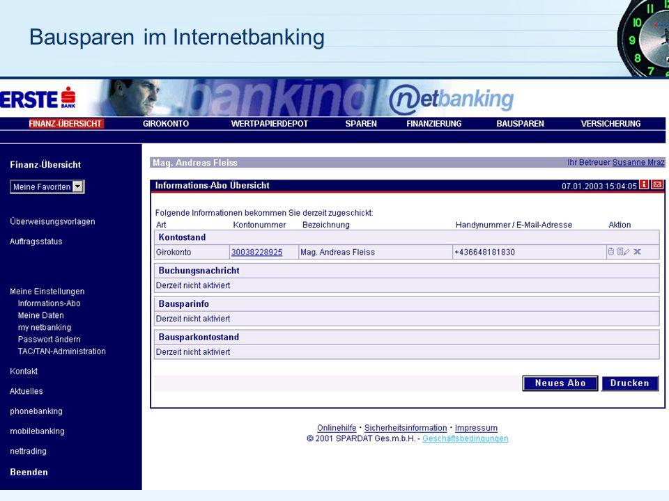 Bausparen im Internetbanking