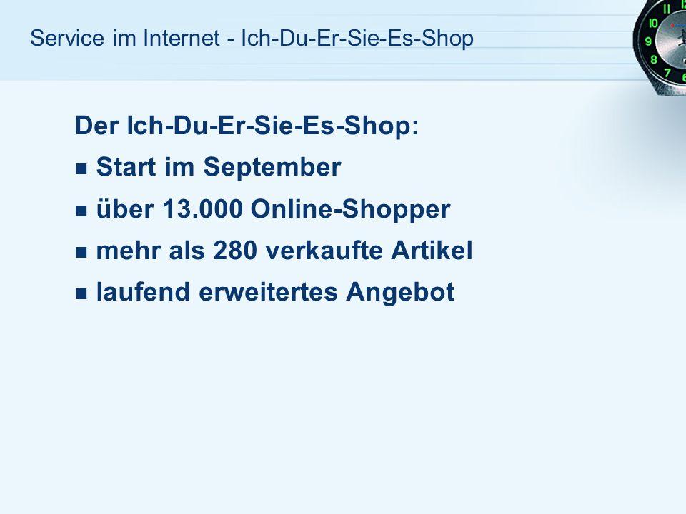 Der Ich-Du-Er-Sie-Es-Shop: Start im September über 13.000 Online-Shopper mehr als 280 verkaufte Artikel laufend erweitertes Angebot