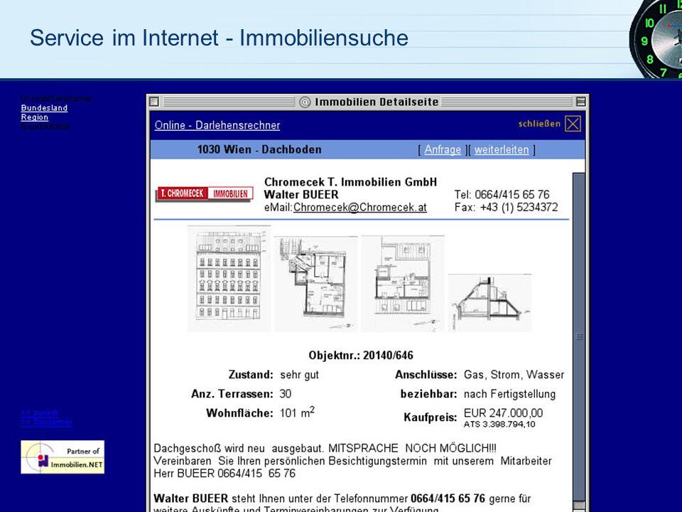 Service im Internet - Immobiliensuche
