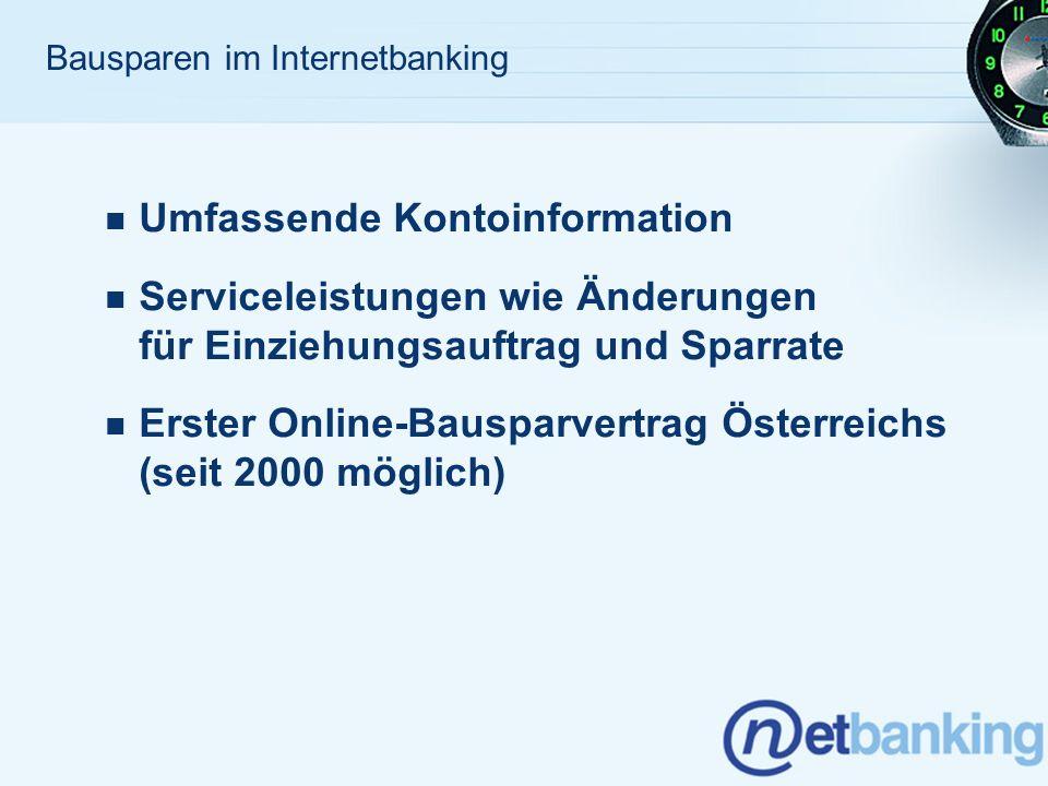 Bausparen im Internetbanking - netbanking