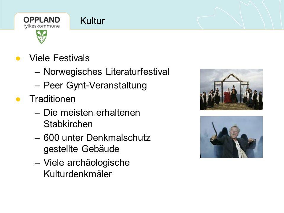 Viele Festivals –Norwegisches Literaturfestival –Peer Gynt-Veranstaltung Traditionen –Die meisten erhaltenen Stabkirchen –600 unter Denkmalschutz gestellte Gebäude –Viele archäologische Kulturdenkmäler Kultur