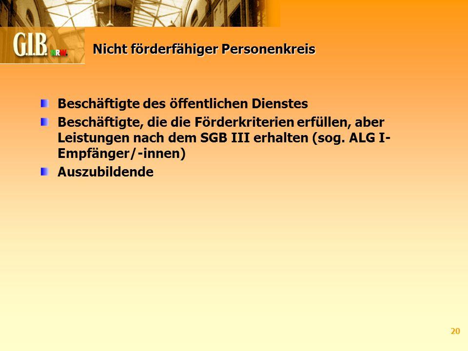 20 Nicht förderfähiger Personenkreis Beschäftigte des öffentlichen Dienstes Beschäftigte, die die Förderkriterien erfüllen, aber Leistungen nach dem SGB III erhalten (sog.