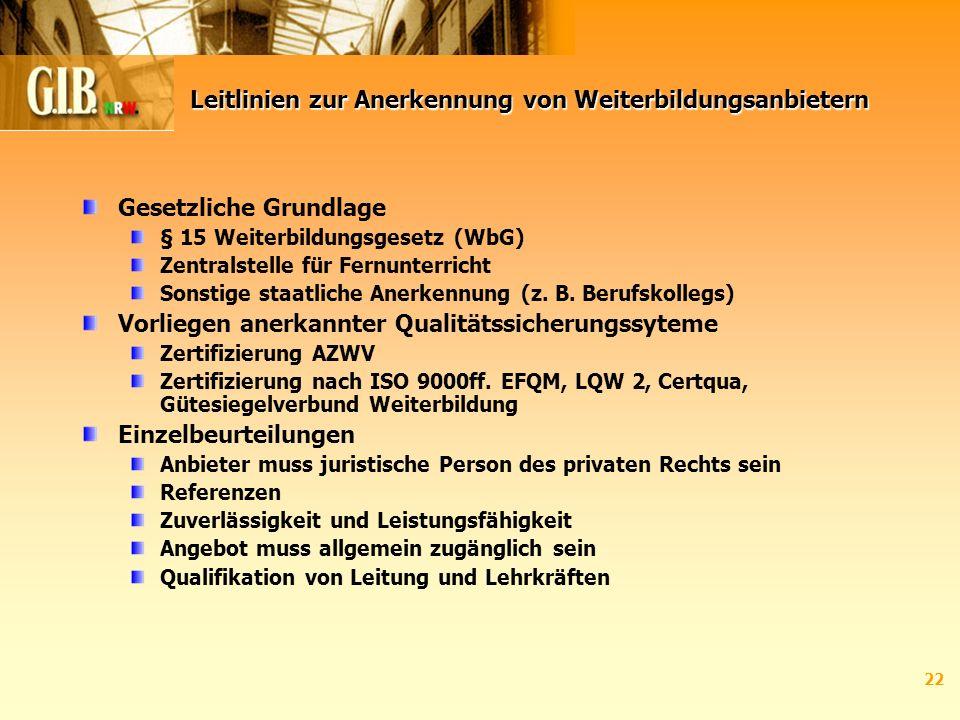 22 Leitlinien zur Anerkennung von Weiterbildungsanbietern Gesetzliche Grundlage § 15 Weiterbildungsgesetz (WbG) Zentralstelle für Fernunterricht Sonstige staatliche Anerkennung (z.