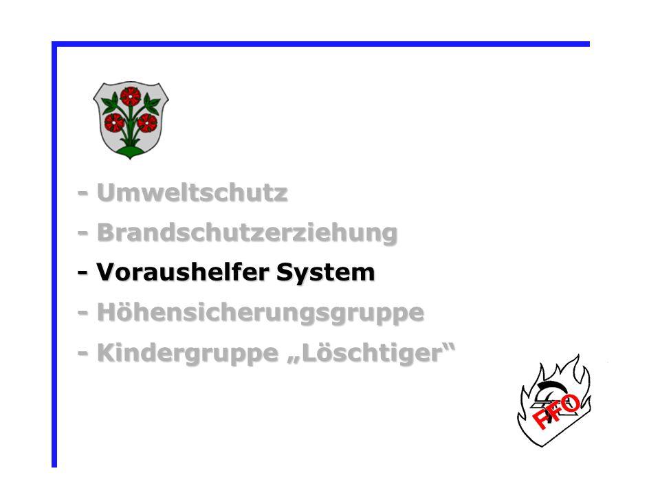 - Umweltschutz - Brandschutzerziehung - Voraushelfer System - Höhensicherungsgruppe - Kindergruppe Löschtiger