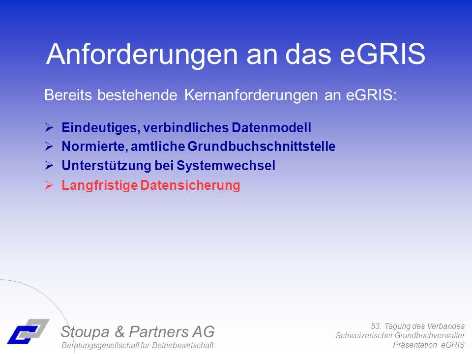 53. Tagung des Verbandes Schweizerischer Grundbuchverwalter Präsentation eGRIS Stoupa & Partners AG Beratungsgesellschaft für Betriebswirtschaft Einde