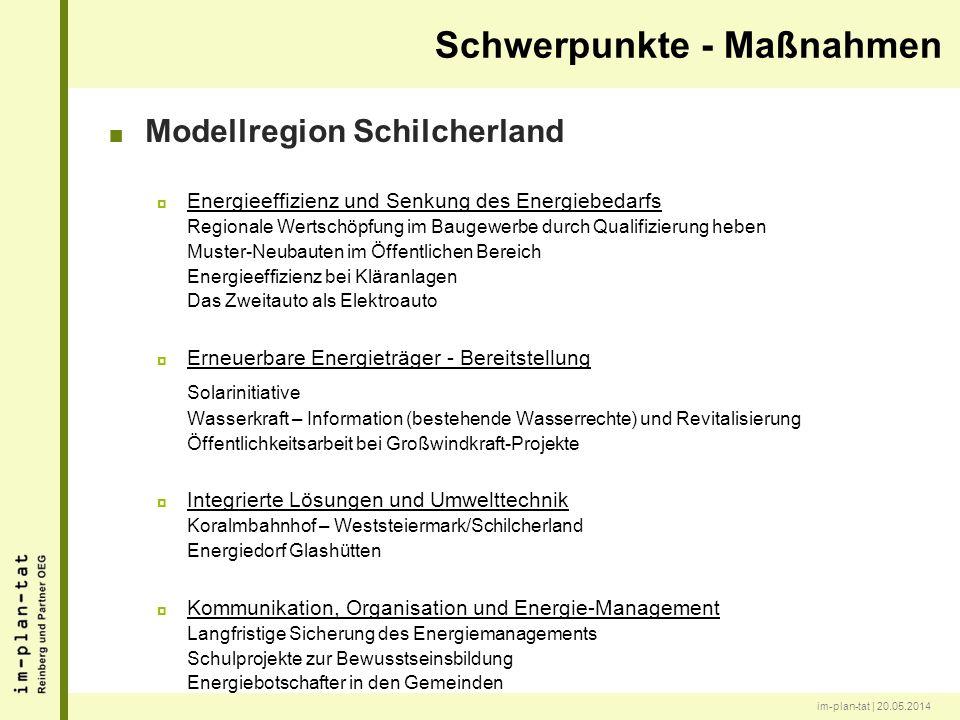 im-plan-tat | 20.05.2014 Modellregion Schilcherland Energieeffizienz und Senkung des Energiebedarfs Regionale Wertschöpfung im Baugewerbe durch Qualif