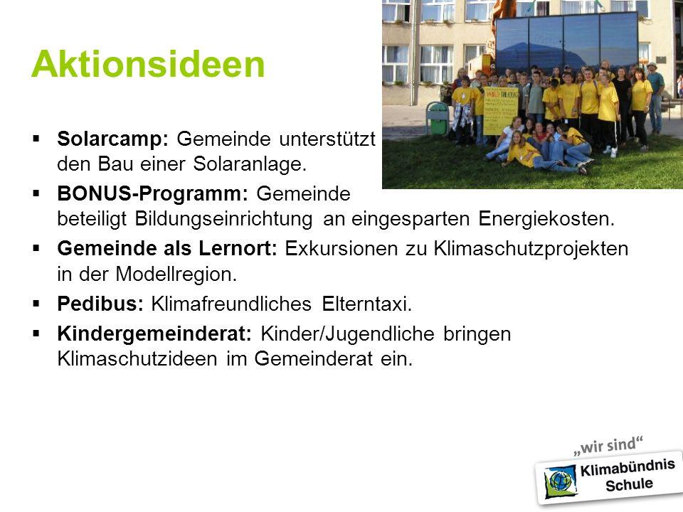 Aktionsideen Solarcamp: Gemeinde unterstützt den Bau einer Solaranlage.