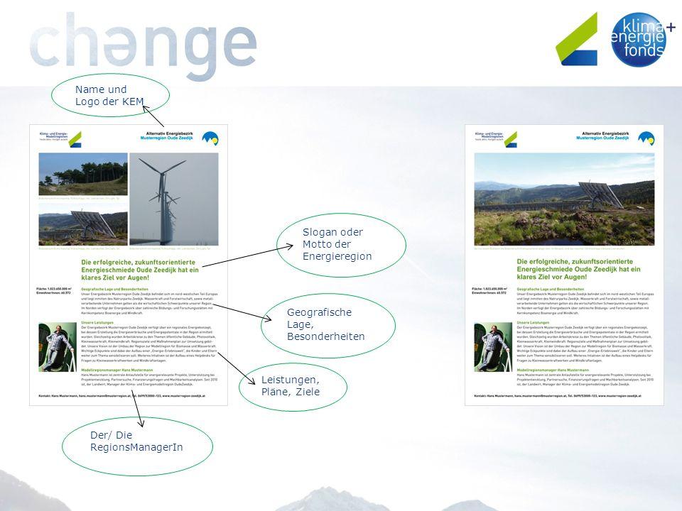 Name und Logo der KEM Slogan oder Motto der Energieregion Geografische Lage, Besonderheiten Leistungen, Pläne, Ziele Der/ Die RegionsManagerIn