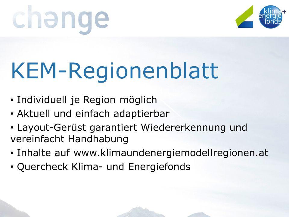KEM-Regionenblatt Individuell je Region möglich Aktuell und einfach adaptierbar Layout-Gerüst garantiert Wiedererkennung und vereinfacht Handhabung Inhalte auf www.klimaundenergiemodellregionen.at Quercheck Klima- und Energiefonds