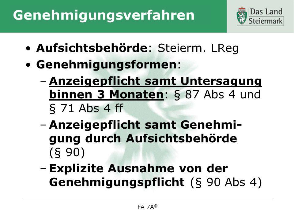 FA 7A © Genehmigungsverfahren Aufsichtsbehörde: Steierm.
