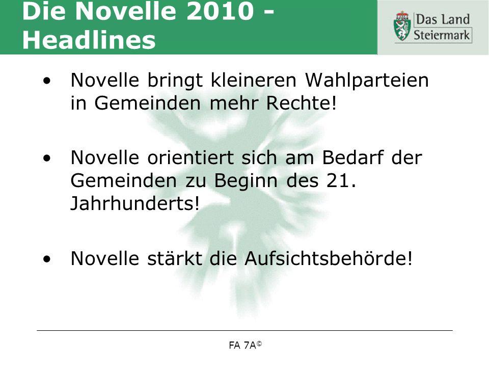 FA 7A © Die Novelle 2010 - Headlines Novelle bringt kleineren Wahlparteien in Gemeinden mehr Rechte.