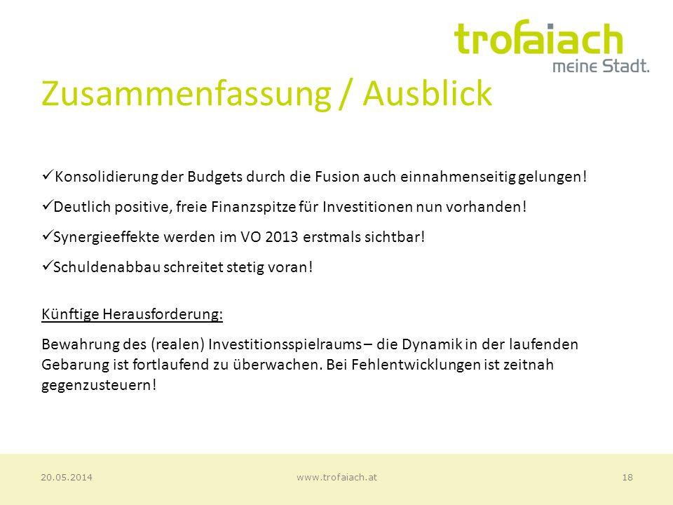 Zusammenfassung / Ausblick 18www.trofaiach.at20.05.2014 Konsolidierung der Budgets durch die Fusion auch einnahmenseitig gelungen.