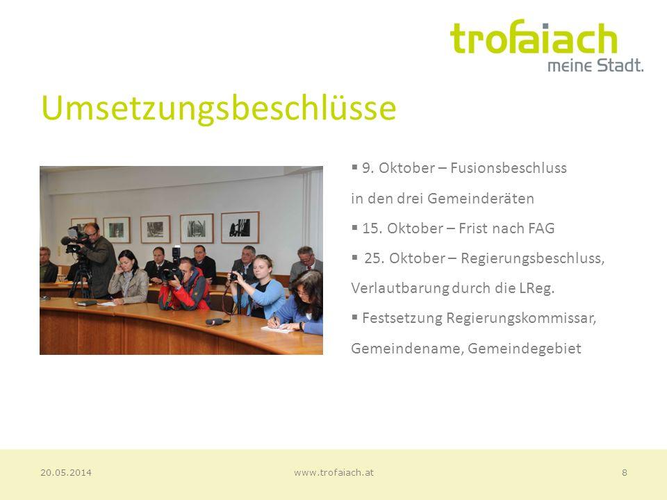 Umsetzungsbeschlüsse 9. Oktober – Fusionsbeschluss in den drei Gemeinderäten 15.