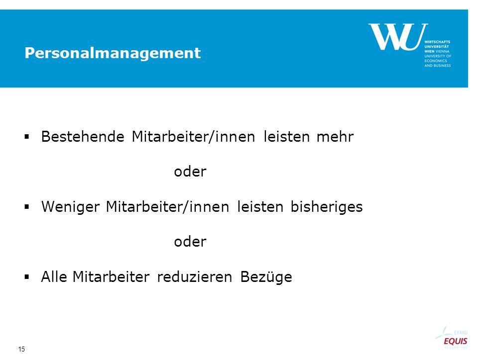 15 Personalmanagement Bestehende Mitarbeiter/innen leisten mehr oder Weniger Mitarbeiter/innen leisten bisheriges oder Alle Mitarbeiter reduzieren Bezüge