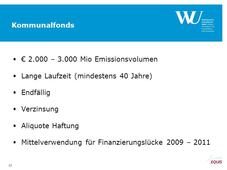 17 Kommunalfonds 2.000 – 3.000 Mio Emissionsvolumen Lange Laufzeit (mindestens 40 Jahre) Endfällig Verzinsung Aliquote Haftung Mittelverwendung für Finanzierungslücke 2009 – 2011