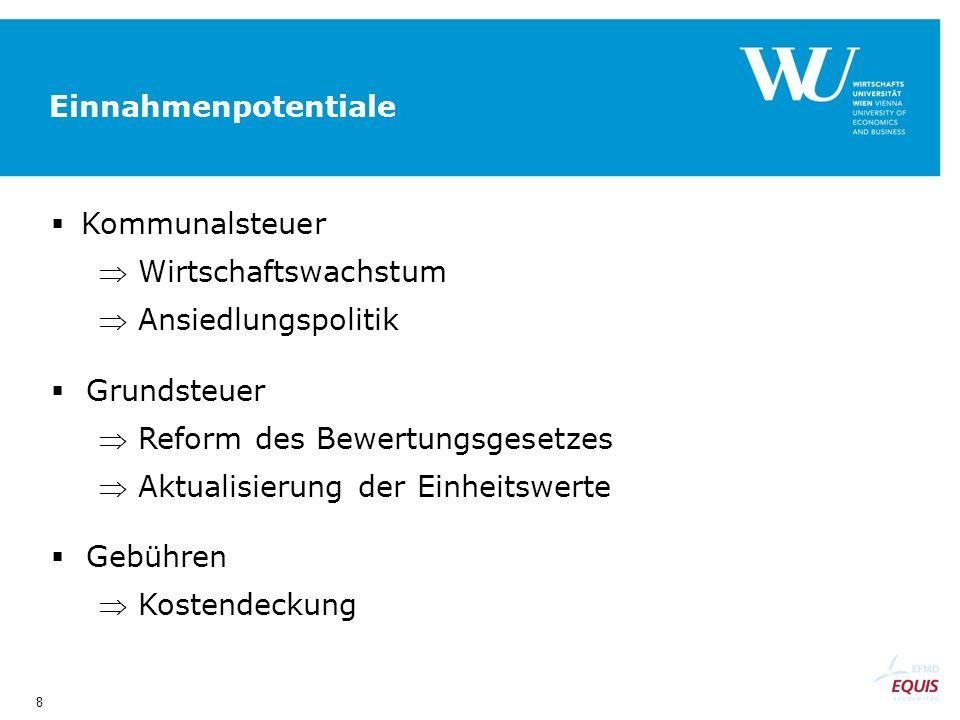 8 Einnahmenpotentiale Kommunalsteuer Wirtschaftswachstum Ansiedlungspolitik Grundsteuer Reform des Bewertungsgesetzes Aktualisierung der Einheitswerte Gebühren Kostendeckung