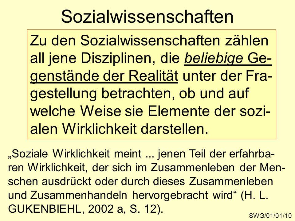 Sozialwissenschaften SWG/01/01/10 Zu den Sozialwissenschaften zählen all jene Disziplinen, die beliebige Ge- genstände der Realität unter der Fra- ges