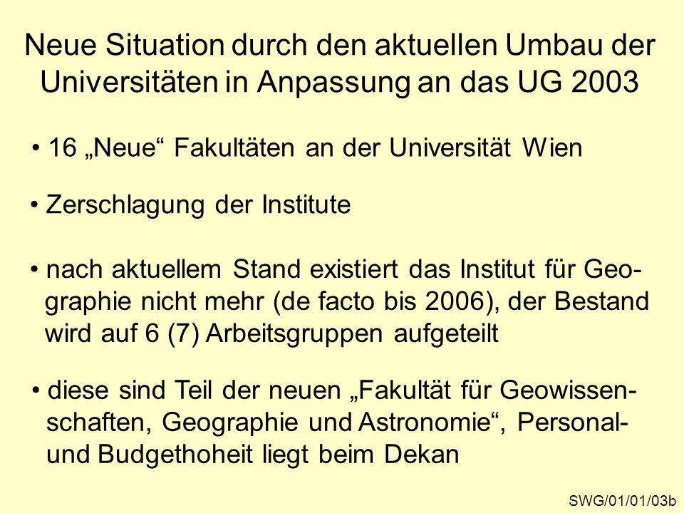 Neue Situation durch den aktuellen Umbau der Universitäten in Anpassung an das UG 2003 SWG/01/01/03b 16 Neue Fakultäten an der Universität Wien Zersch
