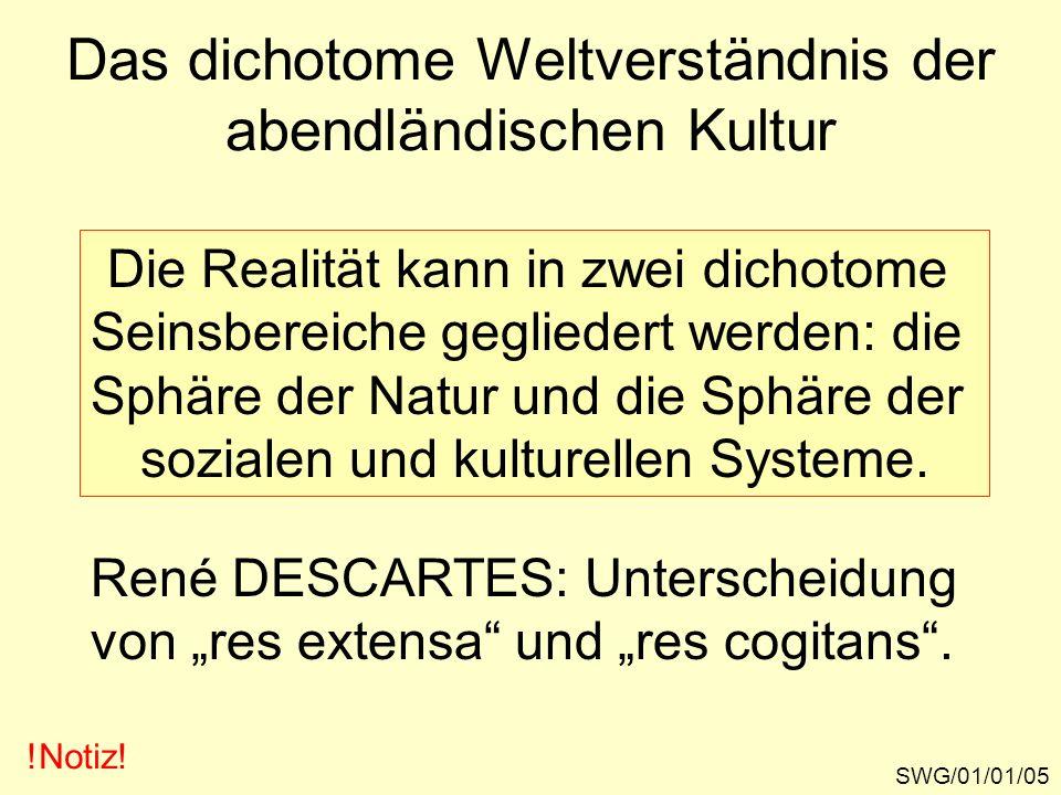Das dichotome Weltverständnis der abendländischen Kultur SWG/01/01/05 !Notiz! Die Realität kann in zwei dichotome Seinsbereiche gegliedert werden: die