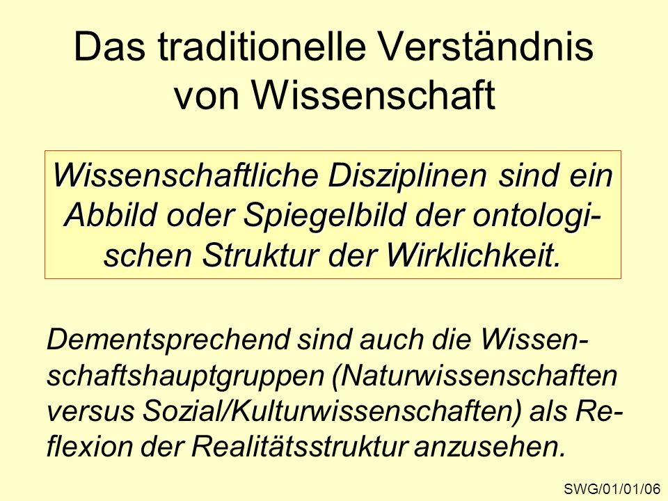 Das traditionelle Verständnis von Wissenschaft SWG/01/01/06 Wissenschaftliche Disziplinen sind ein Abbild oder Spiegelbild der ontologi- schen Struktu