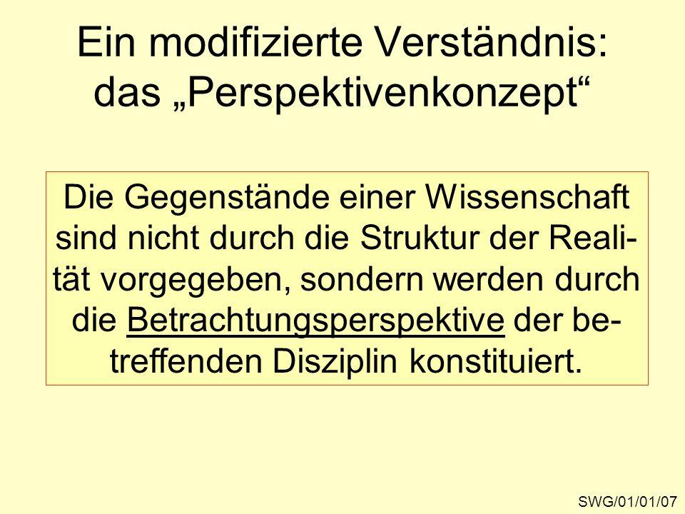 Ein modifizierte Verständnis: das Perspektivenkonzept SWG/01/01/07 Die Gegenstände einer Wissenschaft sind nicht durch die Struktur der Reali- tät vor