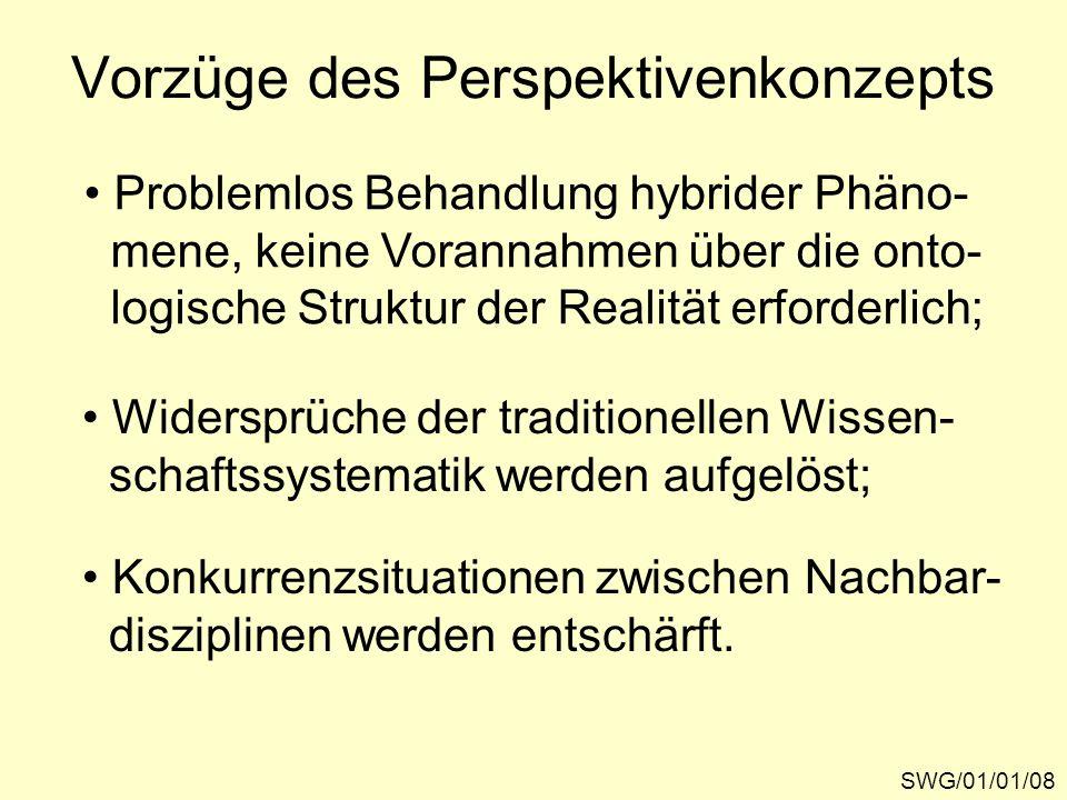 Vorzüge des Perspektivenkonzepts SWG/01/01/08 Problemlos Behandlung hybrider Phäno- mene, keine Vorannahmen über die onto- logische Struktur der Reali