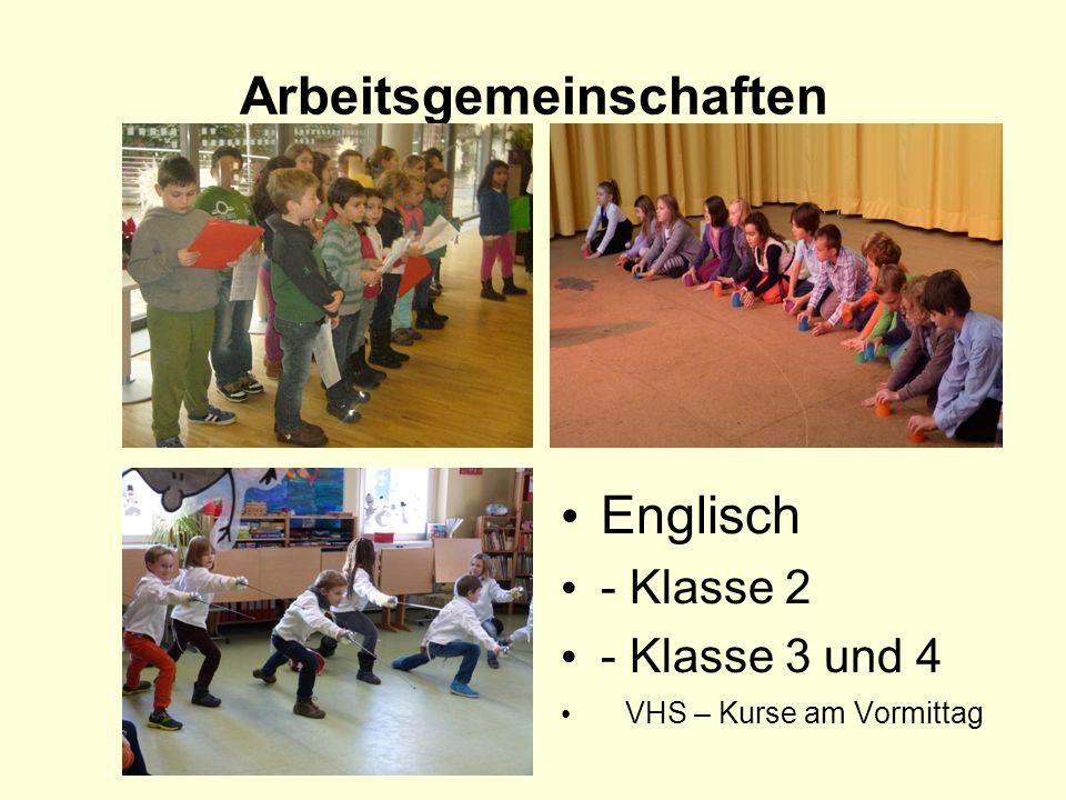 Arbeitsgemeinschaften Englisch - Klasse 2 - Klasse 3 und 4 VHS – Kurse am Vormittag