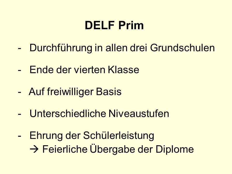 DELF Prim - Ende der vierten Klasse - Unterschiedliche Niveaustufen - Auf freiwilliger Basis - Ehrung der Schülerleistung Feierliche Übergabe der Dipl