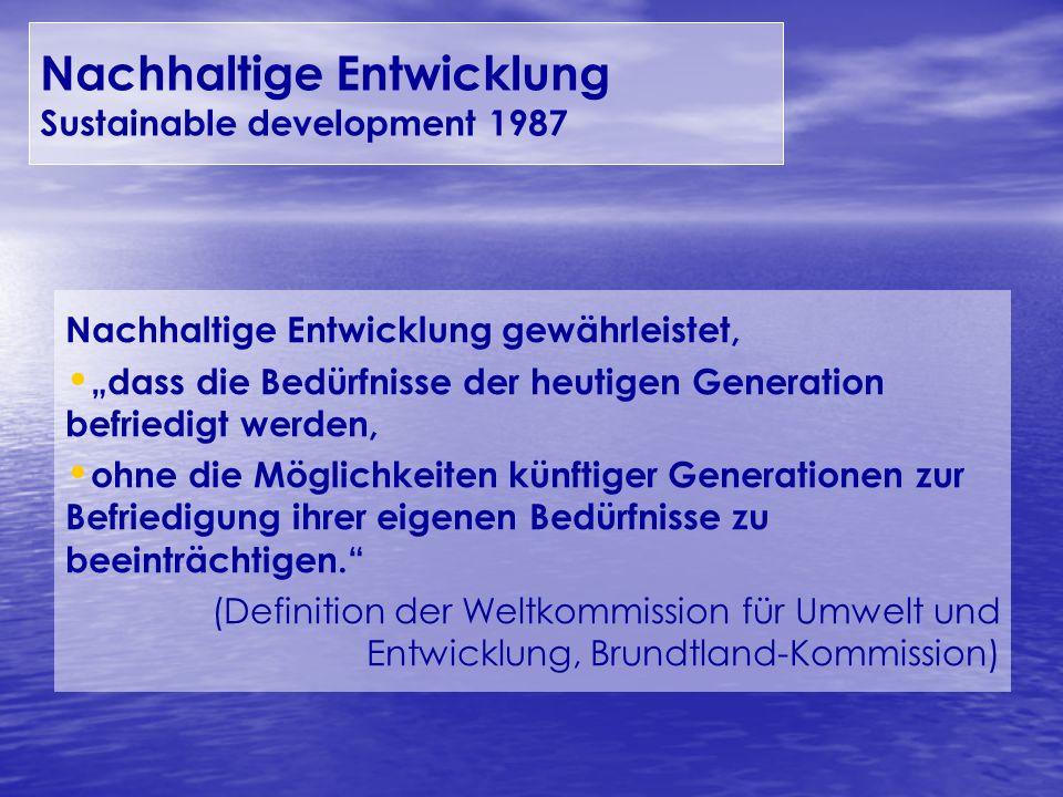 Nachhaltige Entwicklung gewährleistet, dass die Bedürfnisse der heutigen Generation befriedigt werden, ohne die Möglichkeiten künftiger Generationen z