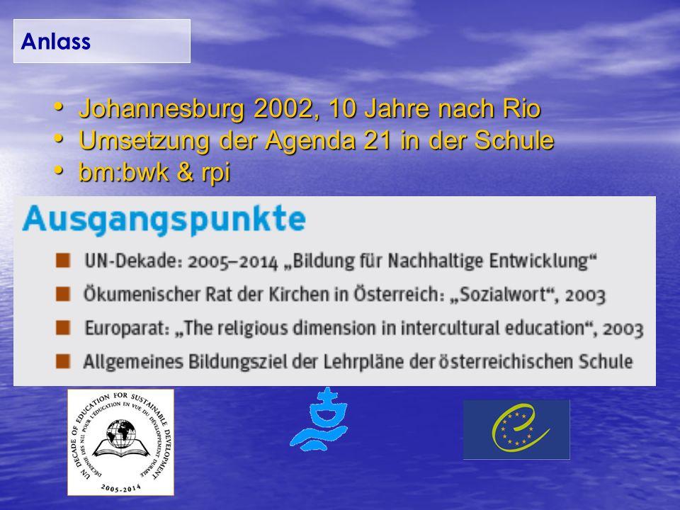 Johannesburg 2002, 10 Jahre nach Rio Johannesburg 2002, 10 Jahre nach Rio Umsetzung der Agenda 21 in der Schule Umsetzung der Agenda 21 in der Schule