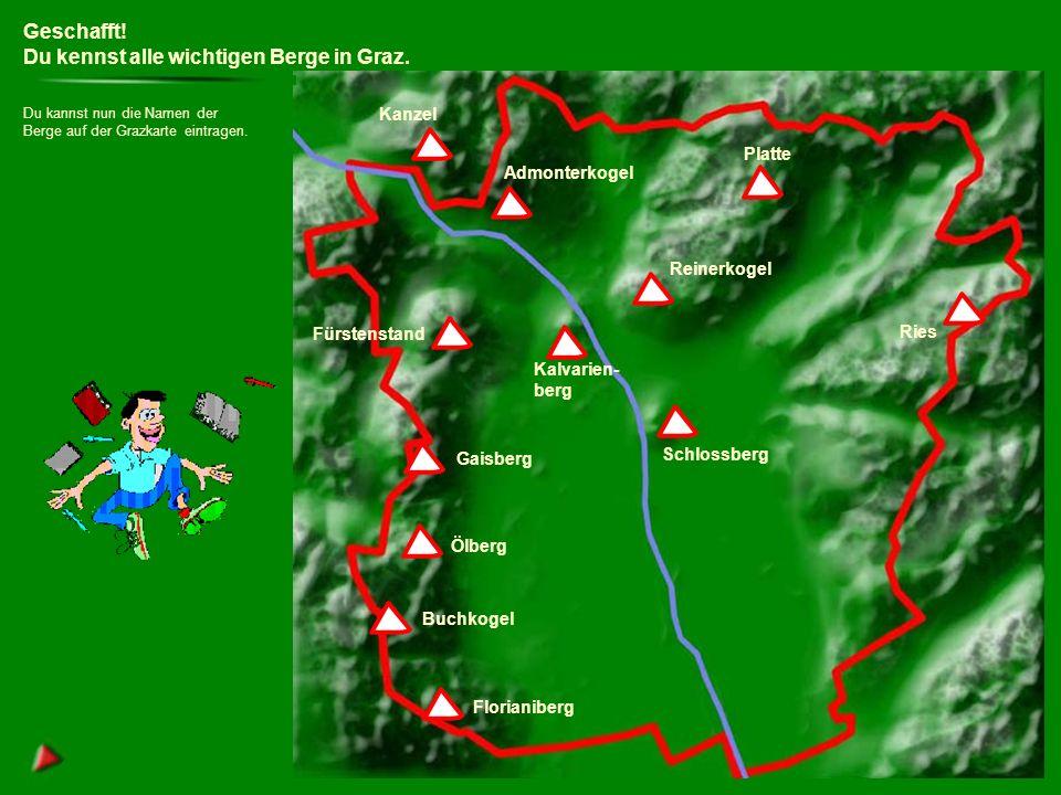 Geschafft.Du kennst alle wichtigen Berge in Graz.