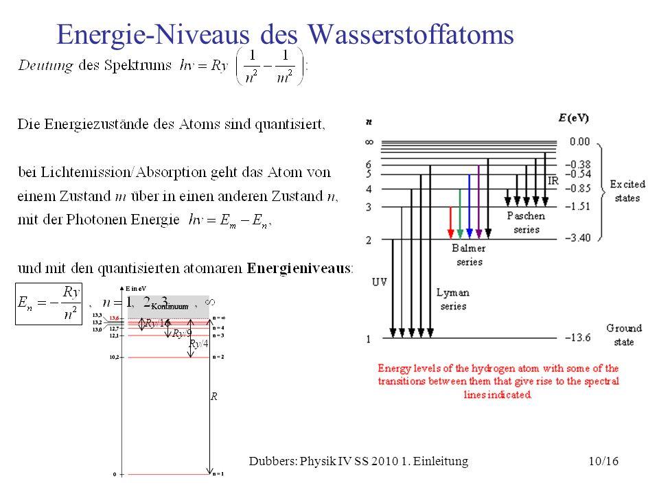 10/16Dubbers: Physik IV SS 2010 1. Einleitung Energie-Niveaus des Wasserstoffatoms Ry/16 Ry/9 Ry/4 R