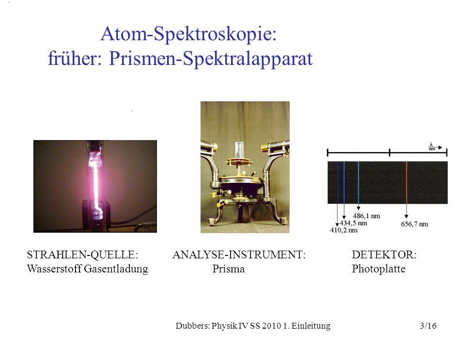 3/16Dubbers: Physik IV SS 2010 1. Einleitung STRAHLEN-QUELLE:ANALYSE-INSTRUMENT:DETEKTOR: Wasserstoff Gasentladung PrismaPhotoplatte Atom-Spektroskopi