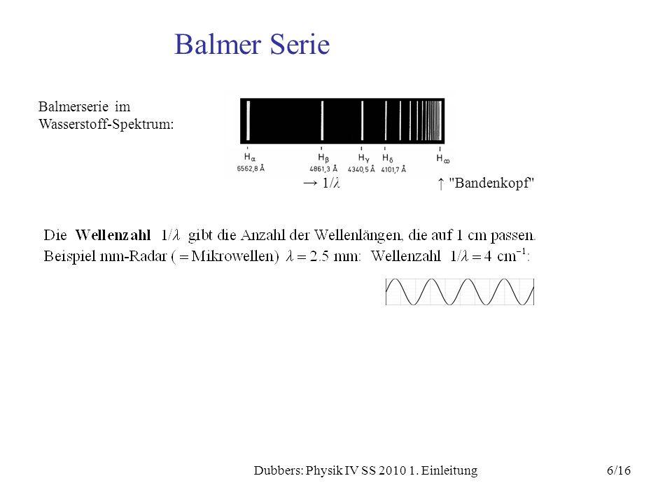 6/16Dubbers: Physik IV SS 2010 1. Einleitung Balmer Serie Balmerserie im Wasserstoff-Spektrum: 1/λ