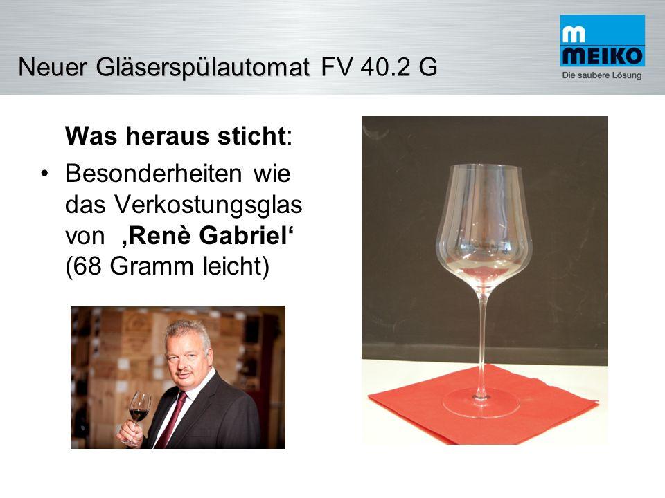 NeuerGläserspülautomat Neuer Gläserspülautomat FV 40.2 G Rohwasser (=Trinkwasser) Zulauftemperatur min 1 °C - max.