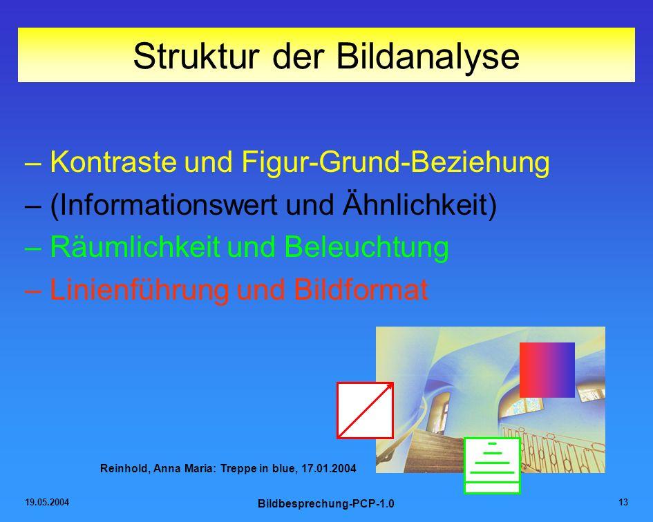 19.05.2004 Bildbesprechung-PCP-1.0 13 Struktur der Bildanalyse –Kontraste und Figur-Grund-Beziehung –(Informationswert und Ähnlichkeit) –Räumlichkeit