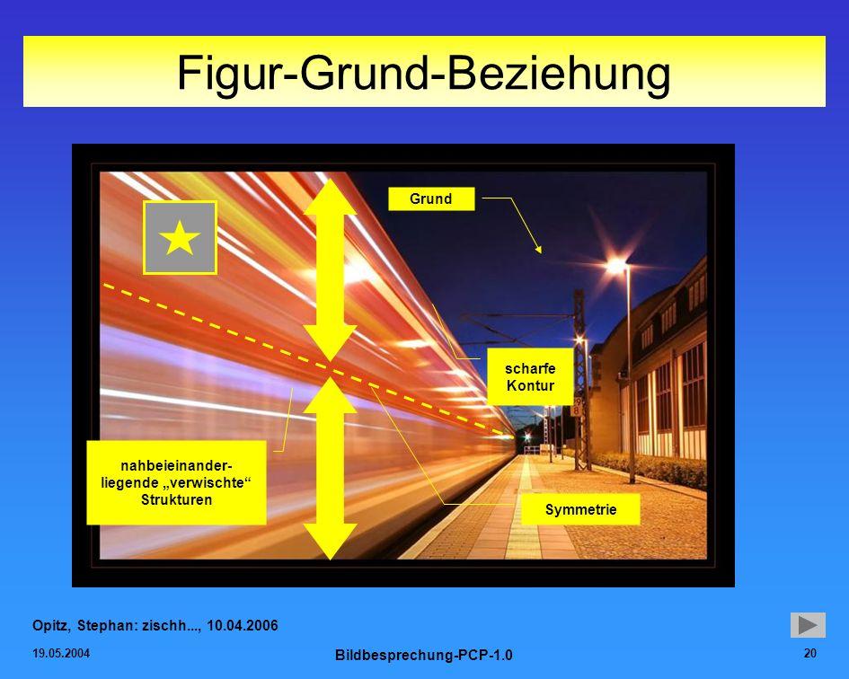 19.05.2004 Bildbesprechung-PCP-1.0 20 Figur-Grund-Beziehung Opitz, Stephan: zischh..., 10.04.2006 Symmetrie Grund nahbeieinander- liegende verwischte