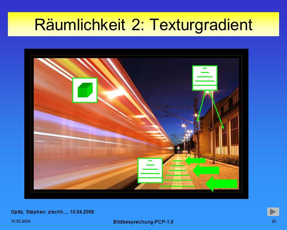 19.05.2004 Bildbesprechung-PCP-1.0 25 Räumlichkeit 2: Texturgradient Opitz, Stephan: zischh..., 10.04.2006